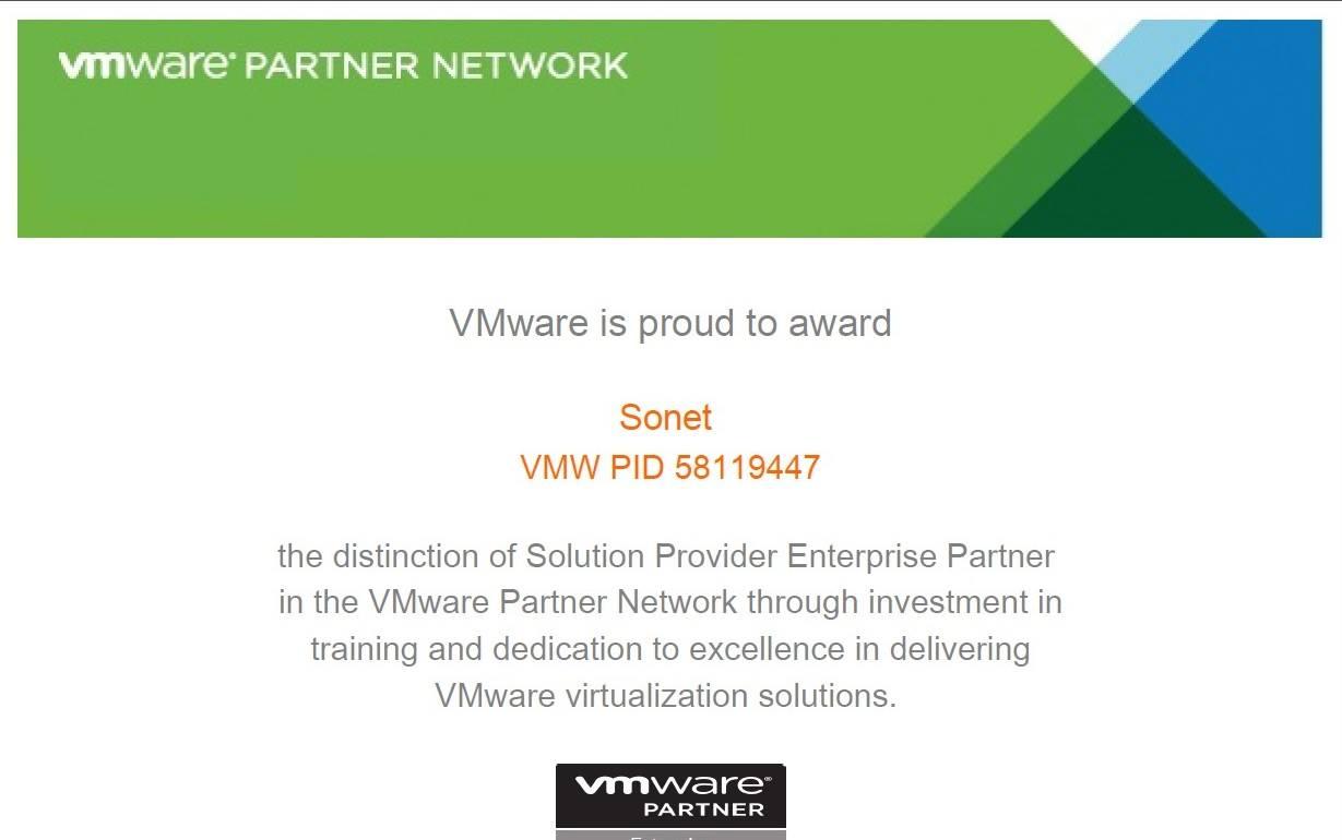 СОНЕТ системный интегратор получил партнерский статус Solution Provider Enterprise Partner компании VMware.